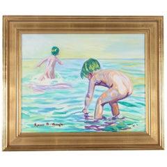 "Danish Painting by Ejnar R. Kragh ""Children Bathing"" Oil on Canvas Midcentury"