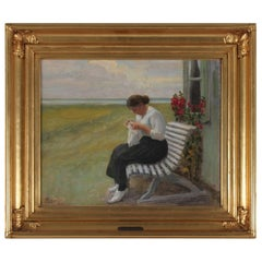 """Danish Painting by Søren Kristensen """"Young Girl sewing"""" Oil on Canvas"""
