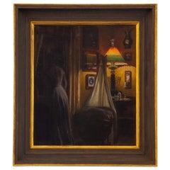 Danish Painting of an Interior Scene, circa 1870s, Original Frame and Stretcher