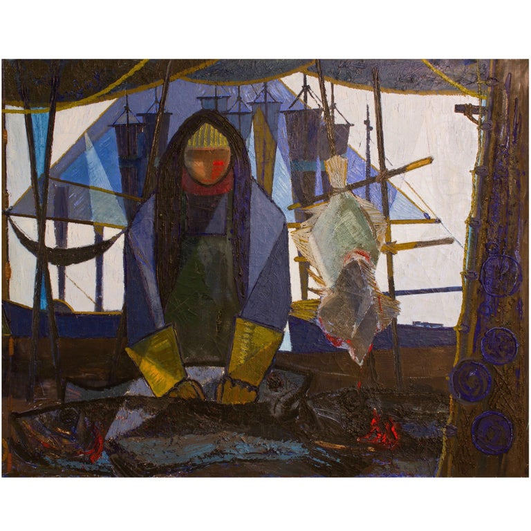 Big Danish Panel of the 1950's: The Fisherman  (65 x 52 inches)