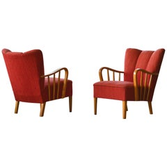 Danish Pair of 1940s Lounge Chairs with Elmwood Armrests