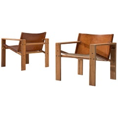 Danish Pair of Cubist Armchairs in Cognac Leather and Elm
