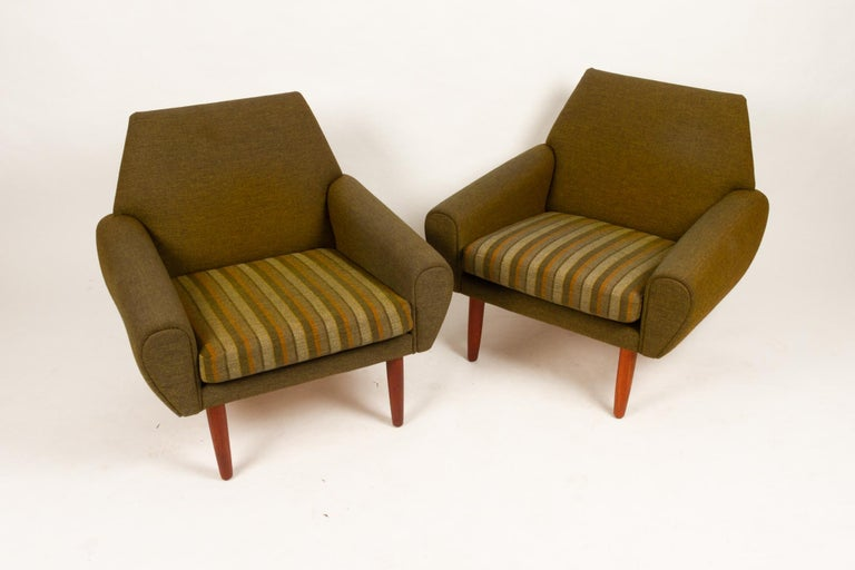 Danish Pair of Lounge Chairs by Kurt Østervig, 1960s For Sale 1