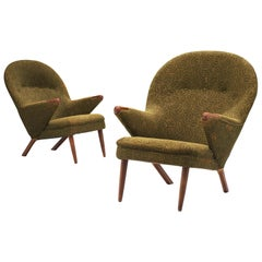 Danish Pair of Lounge Chairs with Rounded Backrests
