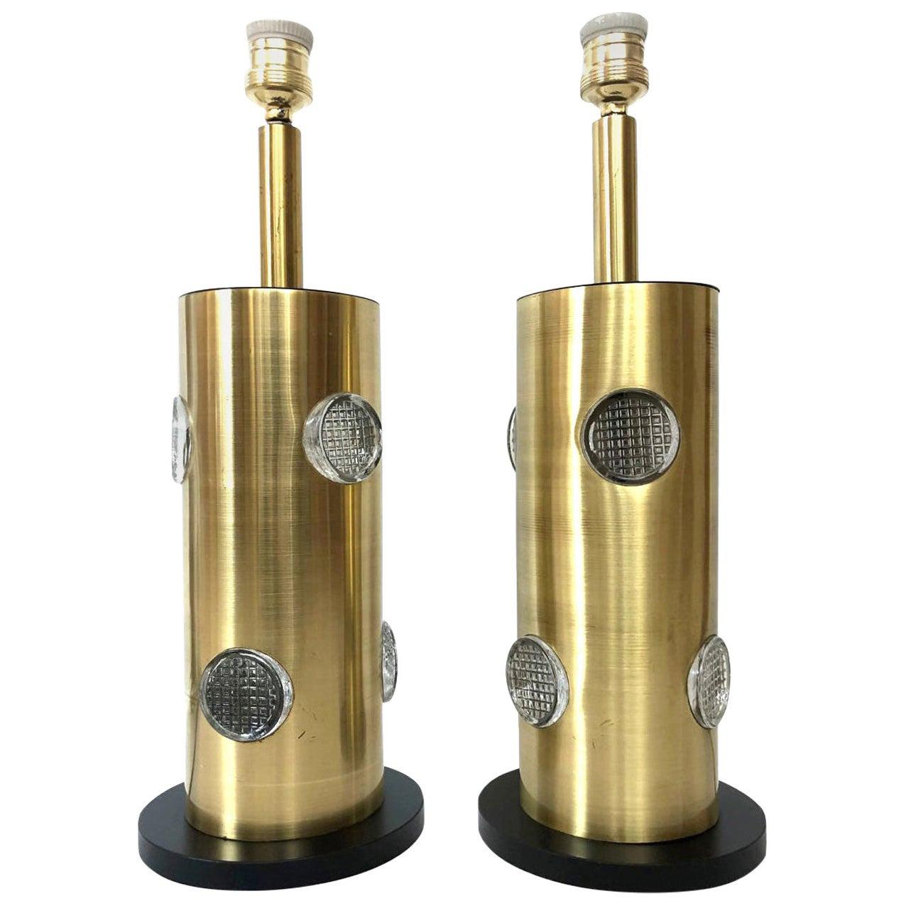 Danish Pair of Midcentury Brass Glass Table Lamps, 1970s