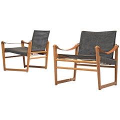 Danish Pair of Safari Chairs with Black Canvas