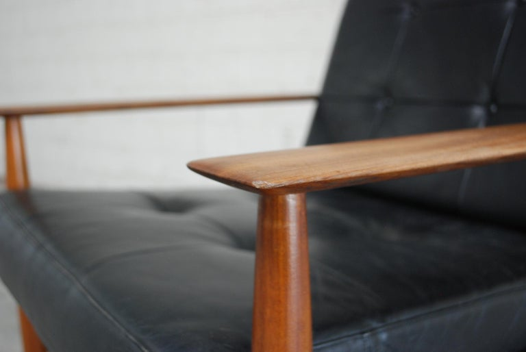 Danish Pair of Teak Leather Armchairs, 1960s For Sale 5