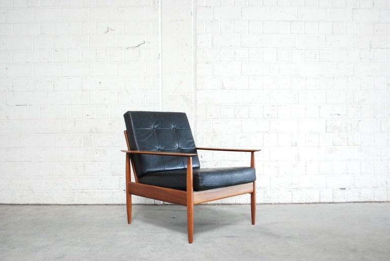 Mid-Century Modern Danish Pair of Teak Leather Armchairs, 1960s For Sale