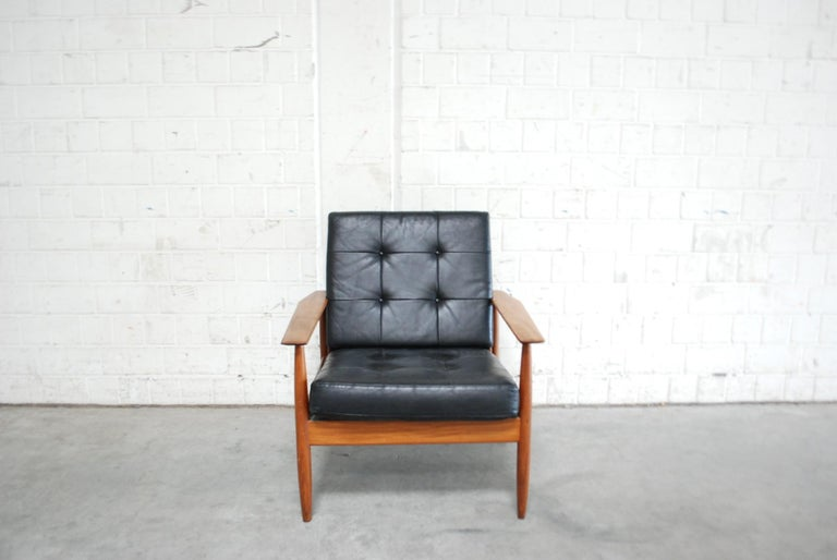 20th Century Danish Pair of Teak Leather Armchairs, 1960s For Sale