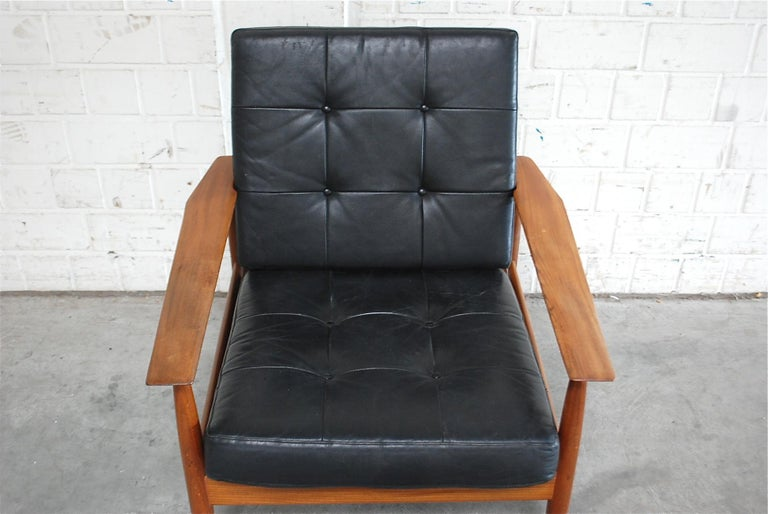 Brass Danish Pair of Teak Leather Armchairs, 1960s For Sale