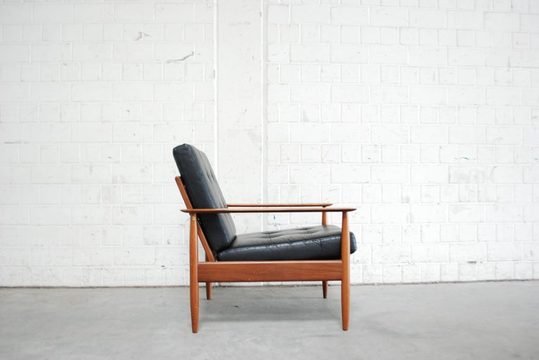 Danish Pair of Teak Leather Armchairs, 1960s For Sale 2
