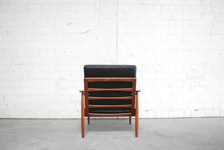 Danish Pair of Teak Leather Armchairs, 1960s For Sale 3