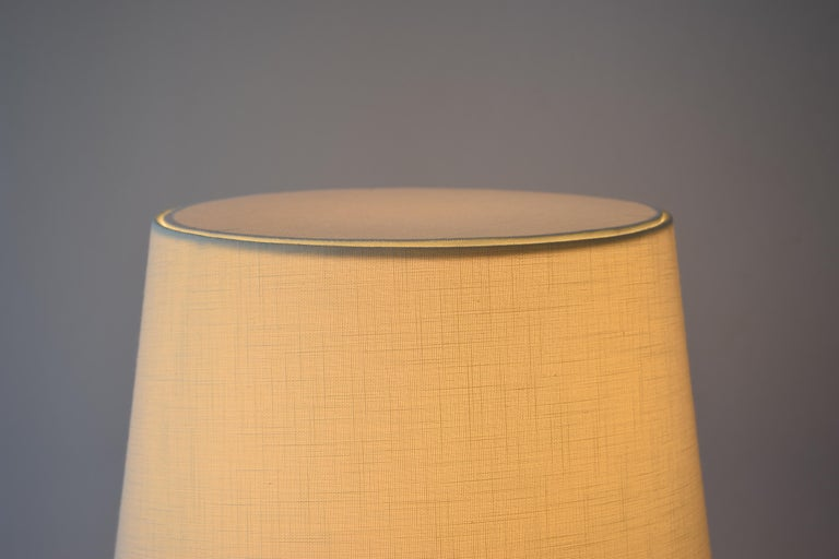 Danish Palshus Budded Table Lamp Brown Haresfur Glaze with Lampshade, 1950s For Sale 7