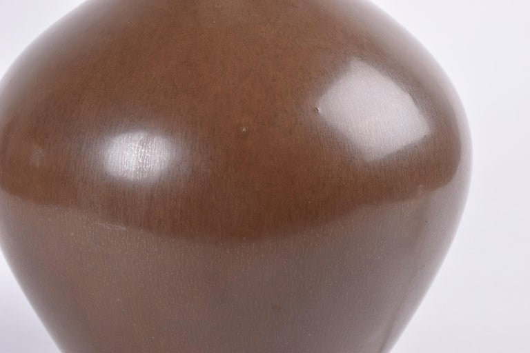 Danish Palshus Budded Table Lamp Brown Haresfur Glaze with Lampshade, 1950s For Sale 1
