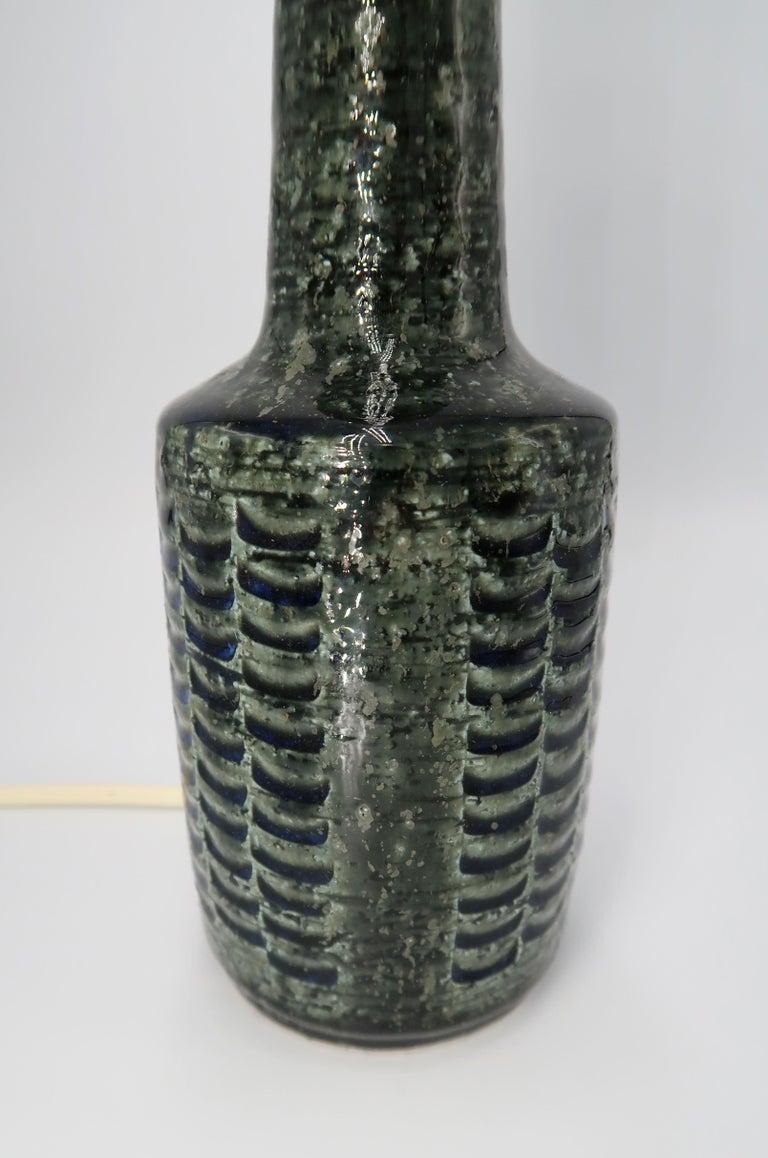 Per Linnemann-Schmidt for Palshus Danish Green Stoneware Table Lamp, 1960s For Sale 1