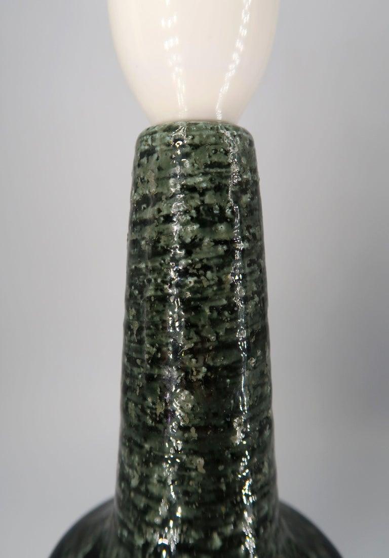 Per Linnemann-Schmidt for Palshus Danish Green Stoneware Table Lamp, 1960s For Sale 2