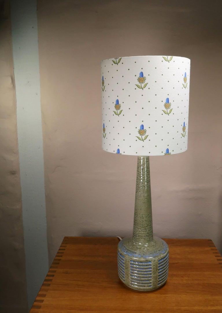 Glazed Danish Palshus Vintage Midcentury Olive, Blue Lamp by Linnemann-Schmidt, 1960s For Sale