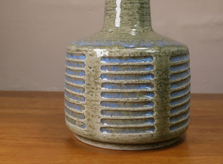 Mid-20th Century Danish Palshus Vintage Midcentury Olive, Blue Lamp by Linnemann-Schmidt, 1960s For Sale