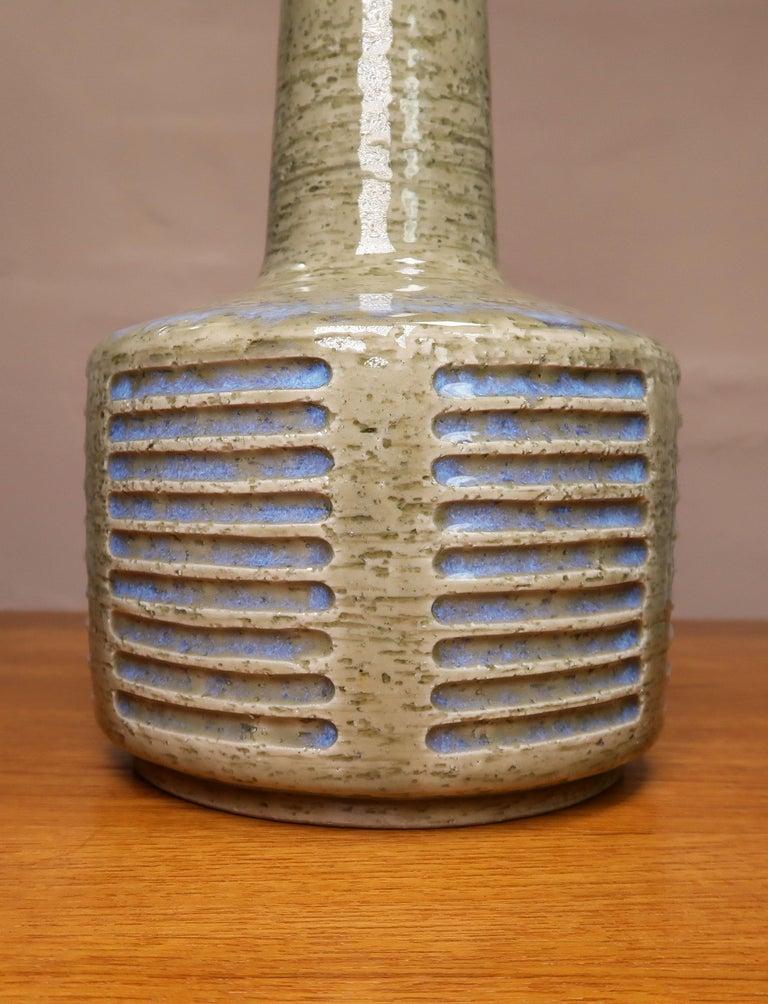 Ceramic Danish Palshus Vintage Midcentury Olive, Blue Lamp by Linnemann-Schmidt, 1960s For Sale