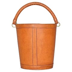 Danish Patinated Leather Brass Paper Basket Bin by Illums Bolighus, Auböck Style