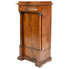 Danish Pedestal Cabinet with Full Columns and Carved Capitals in Mahogany