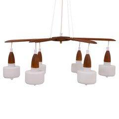 Danish Pendand Lamp, Opaline Glass and Teak