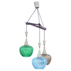 Danish Pine Colored Glass and Teak Frame Pendant Lamp, 1960s