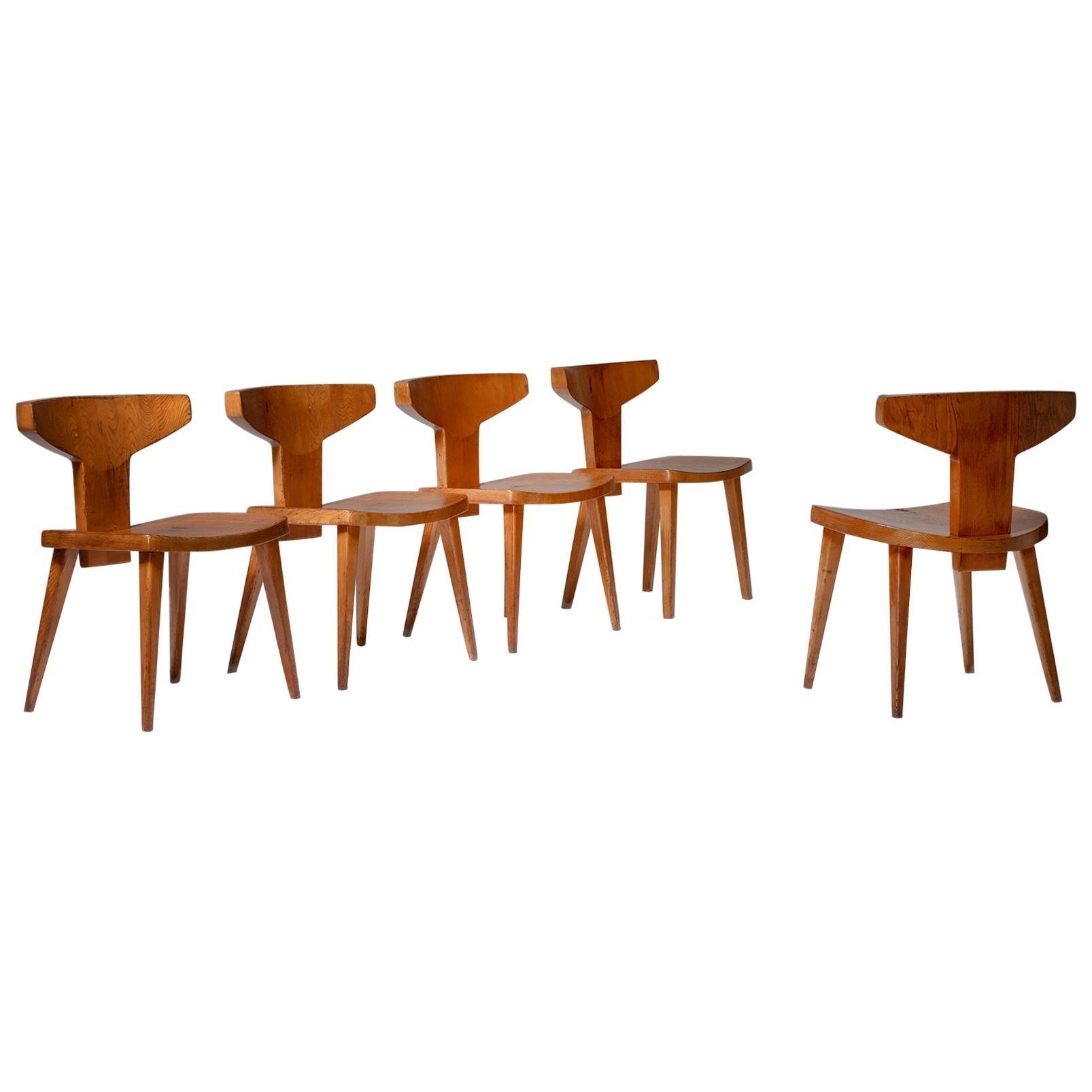 Danish Pine Dining Chairs by Jacob Kielland-Brandt, 1960s