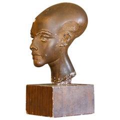 Danish Plaster Sculpture of an Egyptian Stylized Head
