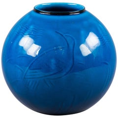 Danish Porcelain Blue Glazed Vase, Bing and Grondahl, circa 1900