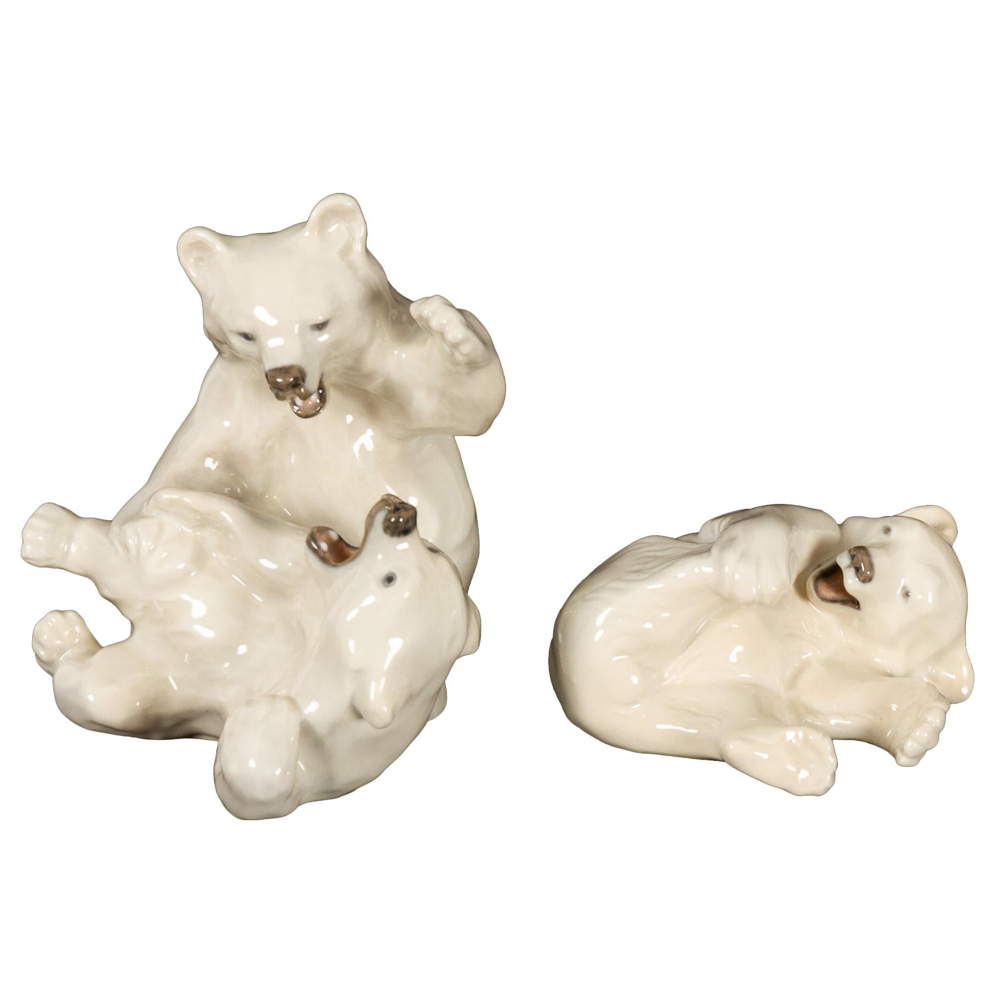 Danish Porcelain Polar Bear Cubs Figurines by Knud Kyhn for Royal Copenhagen