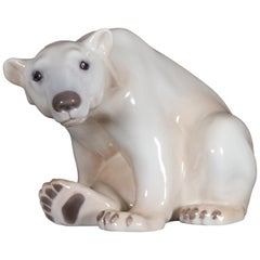 Danish Porcelain Polar Bear Figurine by Dahl Jensen for Bing & Grøndahl