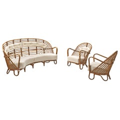 Danish Rattan Lounge Set with Eggshell White Upholstery, 1940s