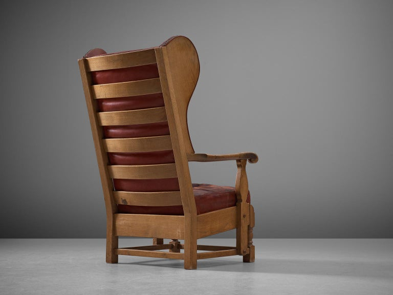 Art Deco Danish Red Leather and Oak Wingback Chair For Sale