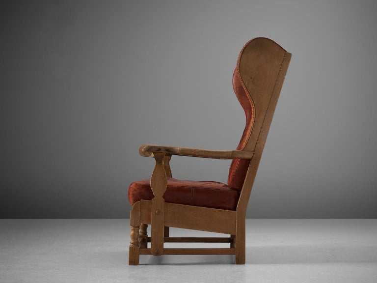 Danish Red Leather and Oak Wingback Chair In Good Condition For Sale In Waalwijk, NL