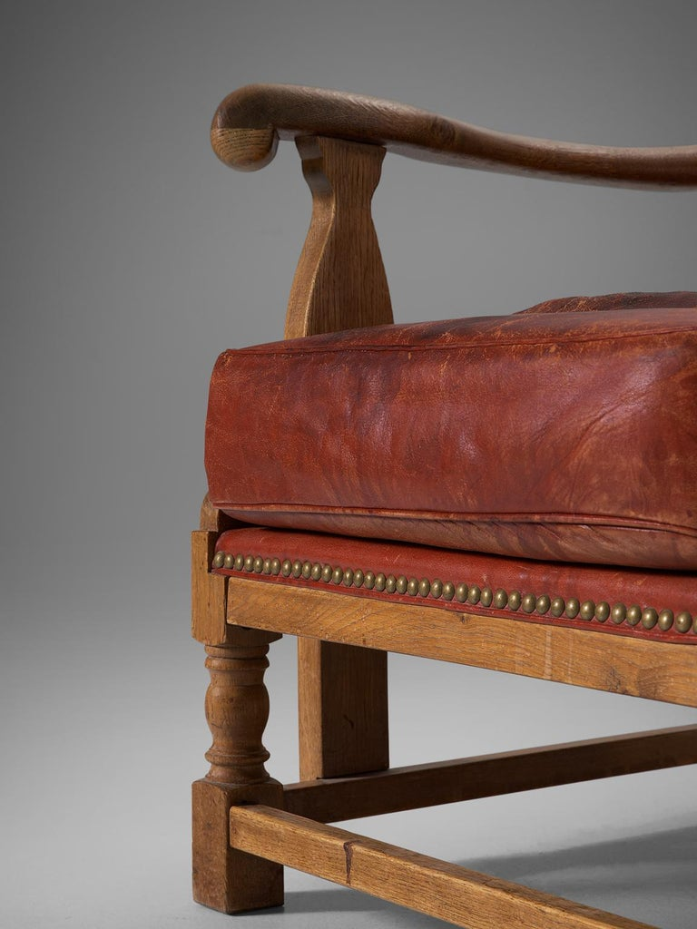 Danish Red Leather and Oak Wingback Chair For Sale 1