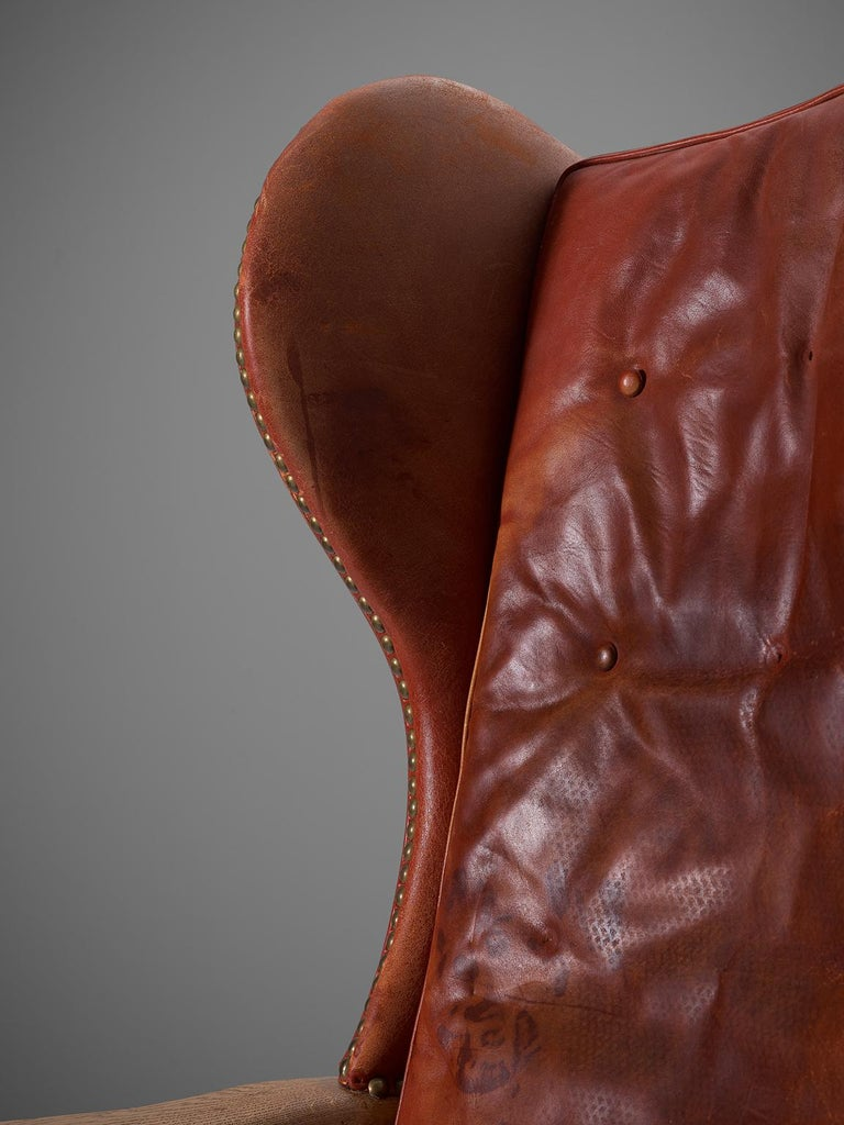 Danish Red Leather and Oak Wingback Chair For Sale 2