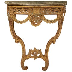 Danish Regency Console Table with Grey Marble Top
