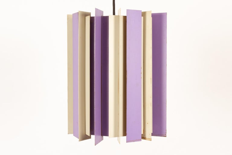 Danish retro ceiling pendant by Lyfa 1960s Vintage ceiling lamp with vertical metal slats in purple, orange and white.  Great patina, with some rust. E27 socket.