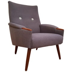 Danish Retro Lounge Chair, Nails and Legs Teakwood, Completely Restored