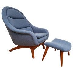 Danish Retro Lounge Chair, Teak Wood, New Zealand Wool, Completely Restored