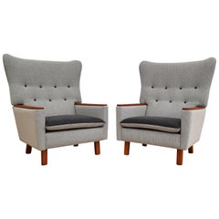 Danish Retro Lounge Chairs, Teak Wood, Wool, 1970s, Completely Restored