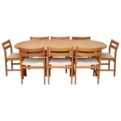 Danish Retro Oak Dining Table and Eight Dining Chairs