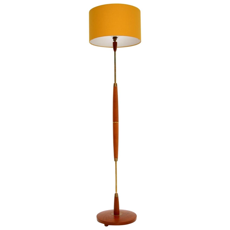 Danish Retro Teak & Brass Floor Lamp Vintage, 1960's