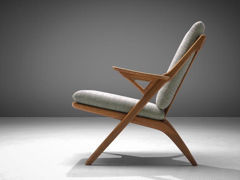 Mid-Century Modern Danish Reupholstered Armchair in Oak For Sale