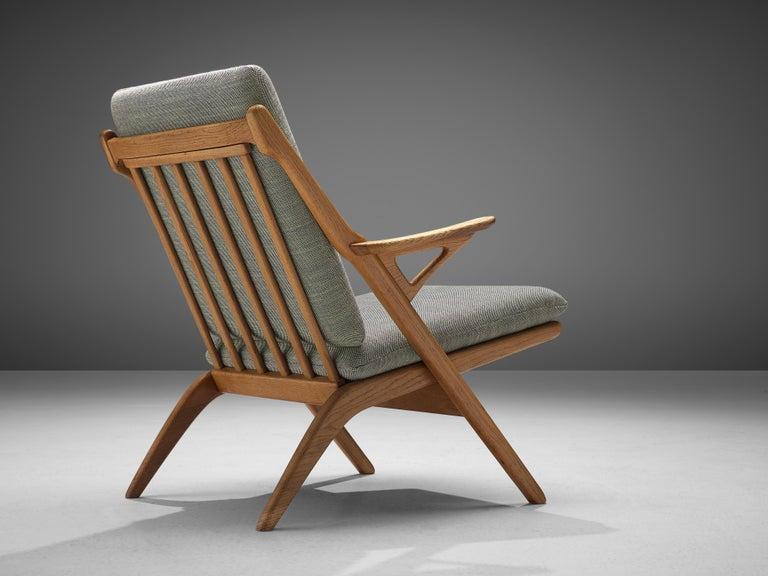 Danish Reupholstered Armchair in Oak In Excellent Condition For Sale In Waalwijk, NL
