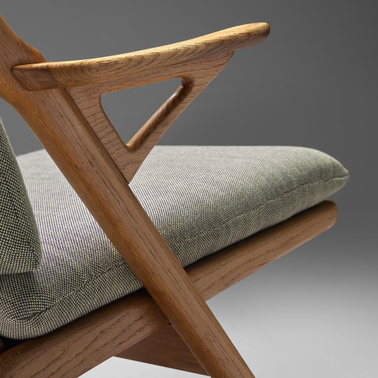 Mid-20th Century Danish Reupholstered Armchair in Oak For Sale