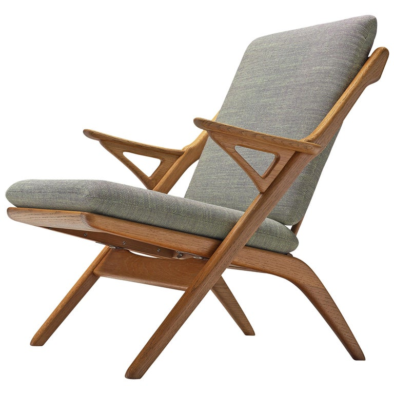 Danish Reupholstered Armchair in Oak For Sale