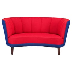 Danish Reupholstered Red and Purple/Violet blue Banana Sofa from Slagelse Møbelv