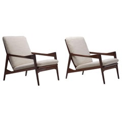 Danish Ribbed Back Lounge Chairs, Denmark, Second Half of the 20th Century, Pair